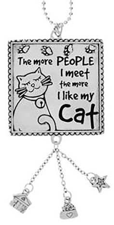"""Amazon.com: Cool & Custom {7"""" Chain Hang} Single Unit of Rear View Mirror Hanging Ornament Decoration Made of Zinc Alloy w/ The more people i meet the more I like My Cat Design [Mustang Silver Colored]: Automotive"""
