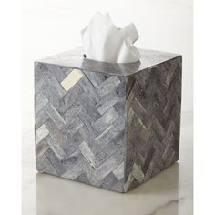 Kassatex Osso Tissue Box Cover (€91) ❤ liked on Polyvore featuring home, bed & bath, bath, bath accessories, grey, gray bath accessories, grey bathroom accessories, kassatex bathroom accessories, kassatex and kassatex bath accessories