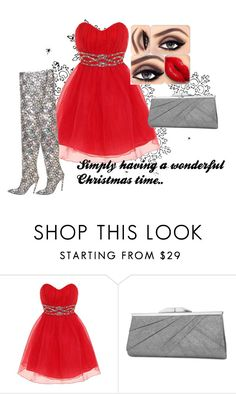 """""""Red Christmas"""" by angelkyle on Polyvore featuring Dorothy Perkins and Jessica McClintock"""