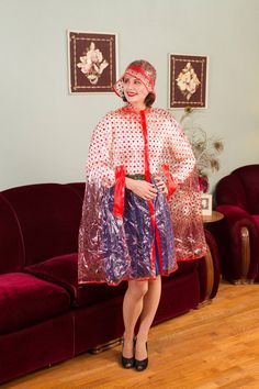 Vintage 1960s Raincoat - Clear Vinyl with Red Polka Dots 60s Rain Cape with Matching Hat