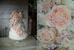 pastel country garden wedding cake botanical style by Amy Swann Cakes, Kelvin Childs Photography