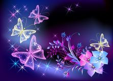 Glowing Transparent Flowers And Butterfly Stock Vector - Illustration of fantasy, artistic: 18391351 Laptop Wallpaper, I Wallpaper, Wallpaper Backgrounds, Butterfly Drawing, Butterfly Wallpaper, Types Of Butterflies, Beautiful Butterflies, Transparent Flowers, Owl Pictures
