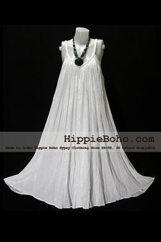 No.015 - Size XS-5X Hippie Boho Clothing Gypsy White Plus Size Strap Summer Maxi Dress, S,M,L,1X,2X,3X,4X,5X Dress