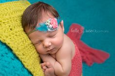 Newborn girl coral, lime green, and turquoise teal | Bella Rose Portraits Newborn Photographer Photography Posing taco pose