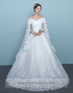 Off the shoulder Long Back Veil Lace Wedding Dress