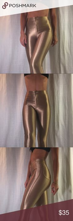 American Apparel Gold Disco Pants Spandex high waisted disco pants . Looks great casually with a ticket in blouse or tee , great to utilize for Halloween. American Apparel Pants Skinny