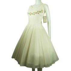 EMMA DOMB 1950 WHITE CHIFFON PINK FLOWERS PROM WEDDING DRESS