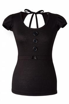 Steady Clothing - Magnolia Bow Top Black #topvintage