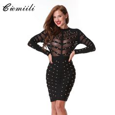 Cheap long sleeve summer dress, Buy Quality bandage dress directly from China summer dress Suppliers: CIEMIILI 2017 New Women Evening Party Bandage Dress Stretch Mesh Knee-length Long Sleeve Summer Dresses Celebrity Bodycon Dress