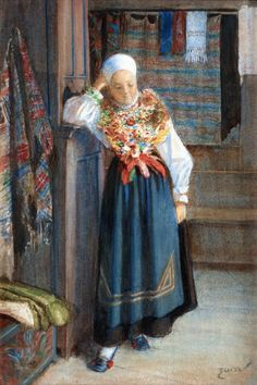 Anders Zorn (Swedish painter, sculptor and printmaker in etching) 1860 - 1920, Interiör med Kulla (Interior with Woman), ca. 1880s, aka Leksandsbruden (The Bride from Leksand), watercolour, 39 x 27 cm.
