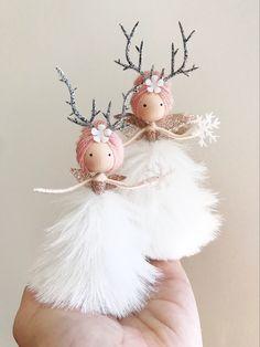 Fairy Crafts, Doll Crafts, Christmas Crafts, Christmas Ornaments, Xmas, Michaels Craft, Felt Fairy, Clothespin Dolls, Tiny Dolls