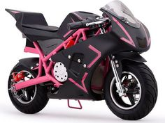 Cali 36v Electric Pocket Bike By MotoTec   Pink FRONT VIEW