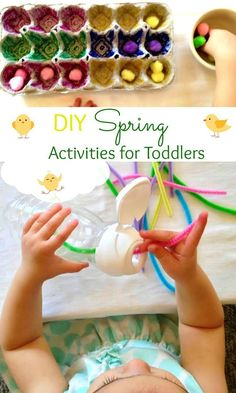Perfect DIY spring toddler activities, DIY Activities for Toddlers, homemade blocks, Montessori activities, fine motor skills, Spring sensory play, Toddler Easter Activities #toddlers #springactivities #toddleractivities