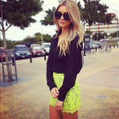 Love the bright lace skirt.