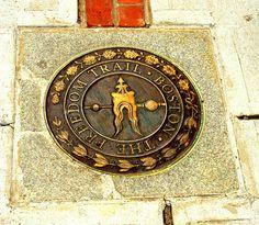 The red brick Freedom Trail that runs through Boston.