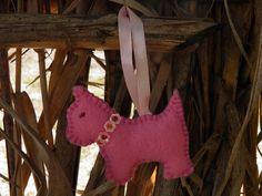 Porta-chaves feltro (cão rosa)