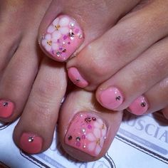 eriko919  #nail #unhas #unha #nails #unhasdecoradas #nailart #floral #pink #rosa