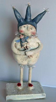 >BOY HOWDIE PAPIER MACHE FOLK ART by Dawn Tubbs, Folk Art Snowman with Doll