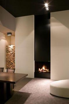 Art et Pierre Metalfire Ultime MF Modern Fireplace, Fireplace Design, Camino Design, Foyers, Fireplace Showroom, Wood Storage, Home Look, Minimalist Home, Modern House Design