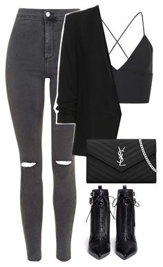 """""""Untitled #2956"""" by charline-cote ❤ liked on Polyvore featuring Topshop, Helmut Lang, Sergio Rossi and Yves Saint Laurent"""