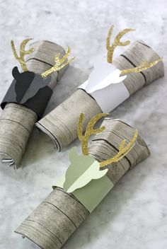 DIY Glittered Deer Napkin Rings