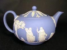 Wedgwood White on Blue Jasper Ware Teapot
