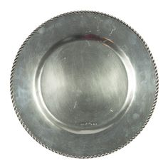 A solid pewter charger with medieval rope detailing around the edge.