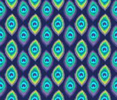 peacock eye drop ikat feathers fabric by katarina on Spoonflower - custom fabric