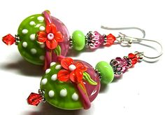 Lampwork Earrings Handmade Artisan Lampwork Beads by SeeMyJewelry, $36.00