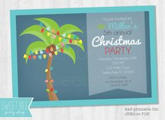 Items similar to Printable Christmas Invitation - Christmas Party Invite - Tropical Christmas Card Beach Christmas on Etsy Tropical Christmas, Beach Christmas, Coastal Christmas, Christmas Photos, Christmas Cards, Caribbean Christmas, Office Christmas, Christmas 2016, Christmas Party Invitations