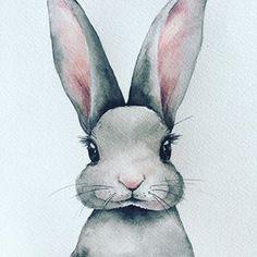 핀터레스트에서 유명한 그 #토끼 #토끼일러스트 #토끼수채화 Animal Drawings, Watercolor Paintings, Rabbit, Instagram, Doodles, Teddy Bear, Nursery, Photo And Video, Artist
