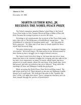 Martin Luther King, Jr. Receives the Nobel Peace Prize