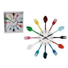 Reloj de pared, diseño cubiertos de colores para decorar tu cocina y ver siempre la hora en la cocina  17,39 € (IVA incl.)