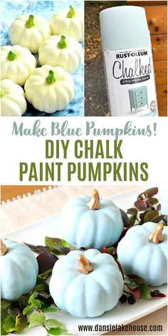 Make Your Own Blue Pumpkins! Looking for painted pumpkin ideas? Fall painted pumpkin in pale blue look like blue heirloom pumpkins. Chalk painted pumpkins are easy - no priming! Use spray paint for good coverage. Cute blue pumpkins aesthetic, blue pumpkins painting ideas for DIY blue pumpkins decor. Save these DIY chalk paint pumpkins under chalk paint projects. How to chalk paint pumpkins. Chalk paint dollar tree pumpkins. Painting pumpkins with chalk paint. Chalk paint pumpkin decorating ideas Pumpkin Decorating, Decorating Ideas, Craft Ideas, Diy Crafts For Girls, Diy Crafts To Sell, Diy Halloween Decorations, Halloween Diy, Decor Crafts, Diy Home Decor