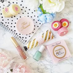 I can't go throughout the day without these! #toofaced #essie Beauty Stuff, My Beauty, Makeup Items, Essie, Face, Faces