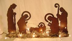 Nativity Set, Manger Set, Baby Jesus, Mary, Joseph, and Shephards, Silhouette Nativity Scene. $48.00, via Etsy.