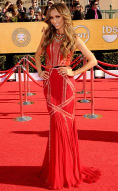 Radiant from Giuliana Rancic's Best Looks  Back to Basil Soda, the star opts for another one of the designer's chic designs with this belted crimson gown from the 2012 SAG Awards.