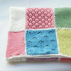 Knit baby blanket patch work. Lace knitting. by BlumeAndJensen