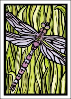 $2.95 Dragonfly - Single Blank Sarah Angst Greeting Card - A Pinch of Purple in the Grass by SarahAngstArt on Etsy #sarahangstarts all occasion note