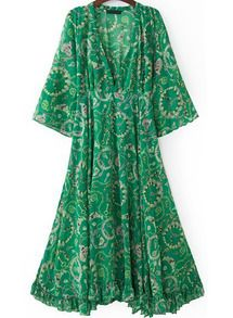 robe en mousseline lâche motif floral V col