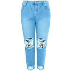 Boohoo Plus Emily Fray Hem Rip Knee Boyfriend Jean (41 CAD) ❤ liked on Polyvore featuring jeans, destructed boyfriend jeans, blue jeans, torn jeans, distressed jeans and distressing jeans