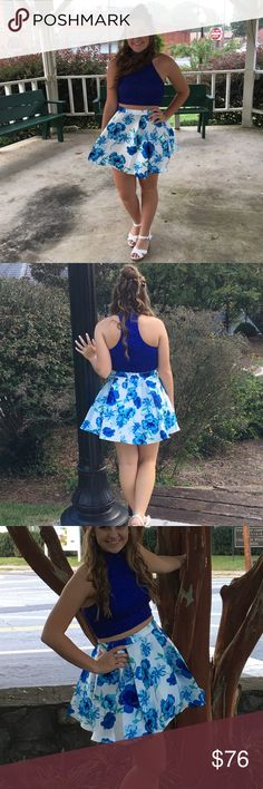 Floral 2 Piece Hoco Dress In perfect condition! I wore it for one night. It's really comfortable. Windsor Dresses Mini