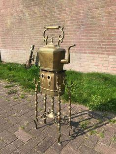 Online veilinghuis Catawiki: Messing en brons legering kolen fornuis en bijbehorende ketel - ca. 1880 - Nederland