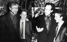 Steven Spielberg and Christian Bale at the premiere of Empire of the Sun, 1987