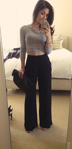high waist pants and crop top
