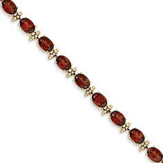 14k Gold 16 Carat Garnet Gemstone Bracelet 7'