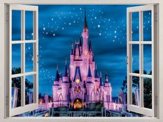 Hey, I found this really awesome Etsy listing at https://www.etsy.com/listing/277342408/3d-window-disney-castle-wall-decal-home