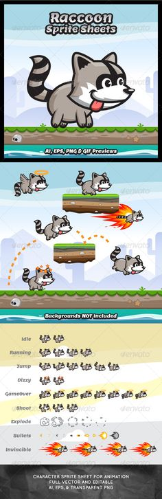 Raccoon Game Character Sprite Sheets | GraphicRiver