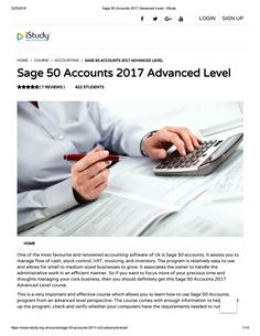 Sage 50 accounts 2017 advanced level istudy is the most suitable course anyone looking to work in this or relevant sector. Also it is an award winning as well as the best selling course that has been given the CPD Certification & CiQ GOLD accreditati. Sage Accounting, Accounting Training, Accounting Software, Sage 50, Student Home, Online Courses, Free