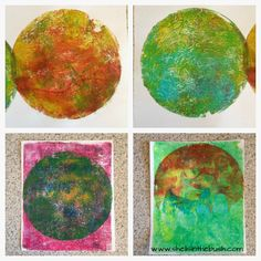 Shells in the Bush Blog - ©Michelle Reynold Round Gelli Plate Fun Over the weekend I got out my round gelli plate and had a great time creating these backgrounds.  Some Carla Sonheim inspired curves....